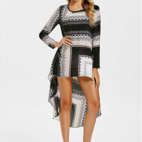 Aztec Print High Low Long Sleeve Tunic Dress