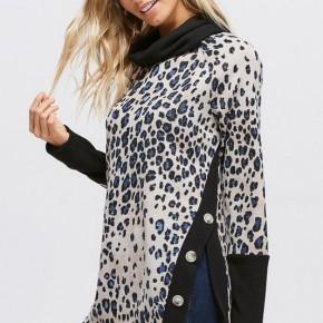 Cheetah Print Asymmetrical Hem And Buttons Sweater