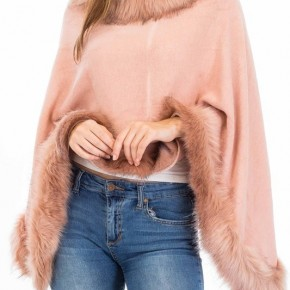 Womens Faux Fur Sweater Poncho - Cape Winter Luxe Trim Shawl