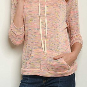 3/4 SLEEVE SLUB KNIT HOODED TUNIC TOP