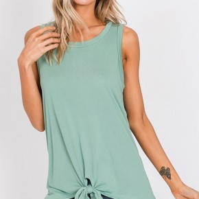 SELF TIE BOTTOM SOLID TANK TOP