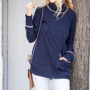 Blanket Reverse Stitched Long Sleeve Turtleneck Top with Single Pocket