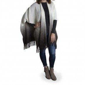 Dip Dyed Grey Cream Ombre Shawl