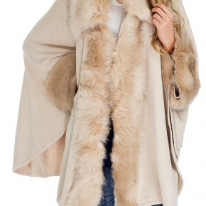 Luxury Collared Fur Trimmed  Cuffed Poncho