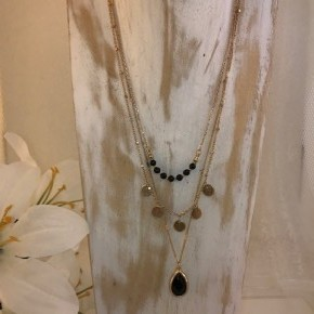 NATURAL STONE BEADED MULTI LAYERED NECKLACE