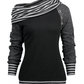 Stripe Trim Raglan Sleeve Skew Cowl Neck Top
