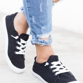WOMENS COMFORT LACE UP FLAT FASHION SNEAKERS