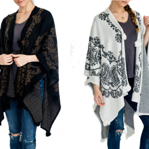 Paisley Pattern Knitted Cashmere Feel Super Soft Natural Fur Design Poncho