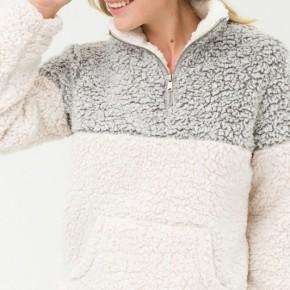 Colorblock Sherpa Pullover