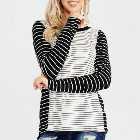 Long Sleeve Round Neck Stripe Hi-Low Hemline Top