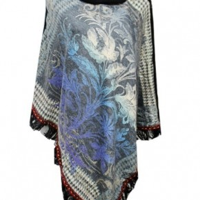 Turtle Neck Floral Gypsy Printed Poncho