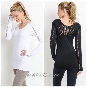 Laser Cut Back and Sleeve Detail Athletic Top