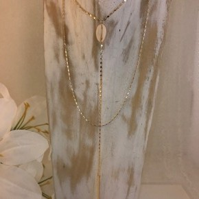COWRIE SEASHELL METAL Y SHAPE LAYERED NECKLACE
