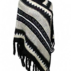 Aztec Striped Design with Tinsel Accent Poncho