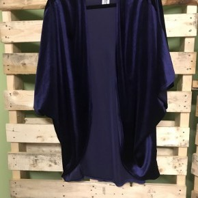 Navy Velvet Open Cardigan