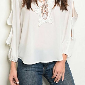 LONG SLEEVE RUFFLE DETAIL V NECKLINE LACE DETAIL TOP
