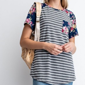 FLORAL & STRIPE POCKET TEE