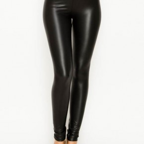 LONG FAUX LEATHER HIGH WAIST LEGGINGS