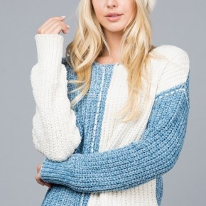 Intarsia Vertical Stripe Knit Sweater