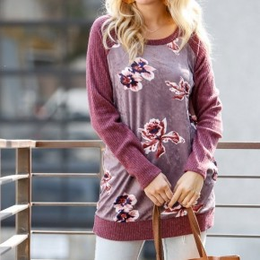 Long Sleeve Floral Print Velvet Top