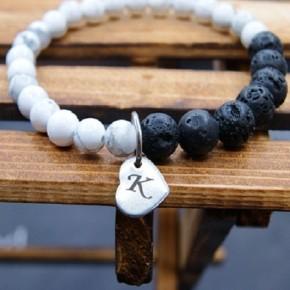 Marble Lava Bead Initial Charm Bracelet
