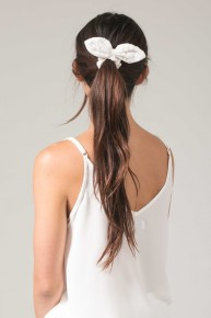 White Bow Hair Scrunchie