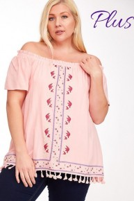 FLORAL EMBROIDERED TASSEL HEM OFF SHOULDER TOP