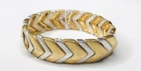 Gold And Silver Arrow Metal Stretch Bracelet