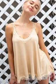 POL  Lace trim halter top with back strap detail.