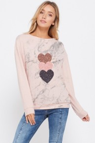 Marble Heart Sweatshirt Long Sleeve