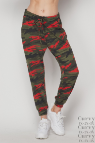 HoneyMe Olive and Red Camo Joggers