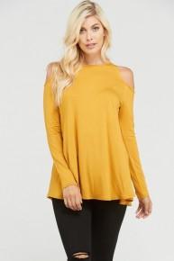 Cold Shoulder Solid Long Sleeve Top