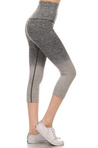 Yelete Dip Dye Ombre Athletic Capri Leggings With High Waistband