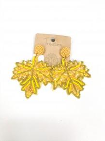 Beaded Maple Leaf Drop Earrings