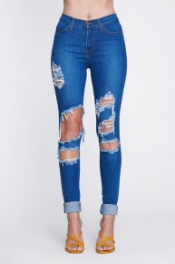Vibrant Classic Roll Up Distressed Skinny