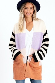 Multi Color Block Stripe Knitted Cardigan