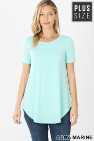 Plus Premium Short Sleeve Round Neck Hem Top