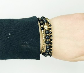 Stackable Black And Gold Bracelet