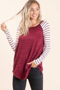 Long Sleeve Solid Body With Striped Baseball Top