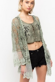 POL Lightweight crochet kimono lace duster with lace contrast detail on hem