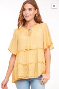 Ruffle Top with Lace Trims