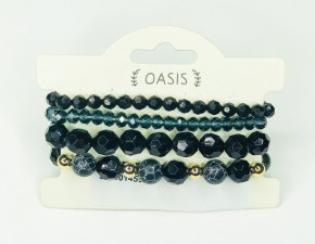 Black Beaded Stackable Bracelet