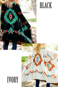 Aztec Patterned Open Front Cardigan
