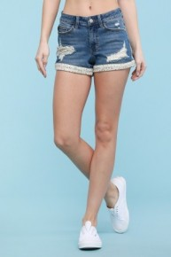 Judy Blue Flower Patch + Hem Shorts