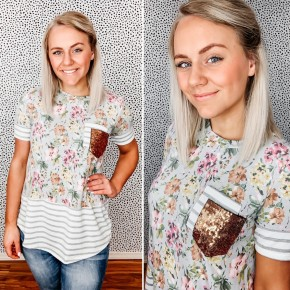 Ava Floral Sequin Top
