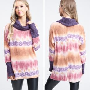 Tie Dye Cowl Neck Knit Sweater *Final Sale*