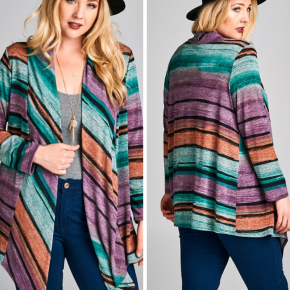 Open Front Multi-Colored Cardigan