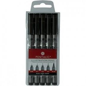 Permanent Ink Pen Set, Black, 5 Pens Size .05,0.1,0.3,0.5, Brush Tip