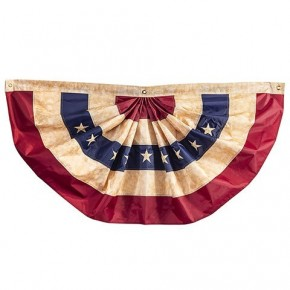 """25"""" x 48"""" Vintage Look, Tea Stained Bunting Flag"""
