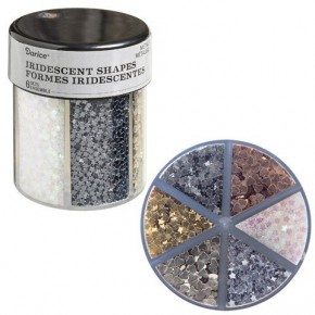 Darice® 6-Color Shaped Glitter Caddy: Metallic Hearts & Stars